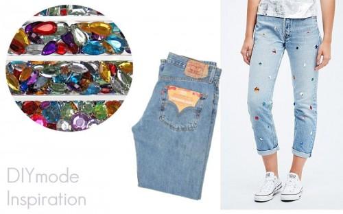 DIY Mode Inspiration Glitzersteine und Jeans