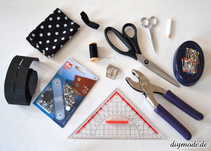 Material und Werkzeug Gürtel
