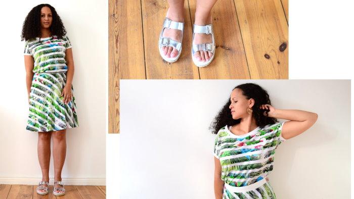 Mode Sommertrends 2015 Trend Sommer Tropen Palmen Blätter Dschungel Druck Print Exotisch Silber Schuhe Metallic grün 1