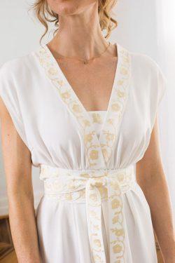 Langes Kleid mit Stickmotiven / Schnittmuster (Gr 36-44) und Textanleitung