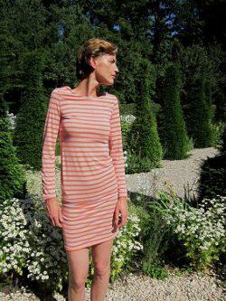 Jerseykleid mit langen Ärmeln / Schnittmuster (Gr 34-42) und Bildanleitung