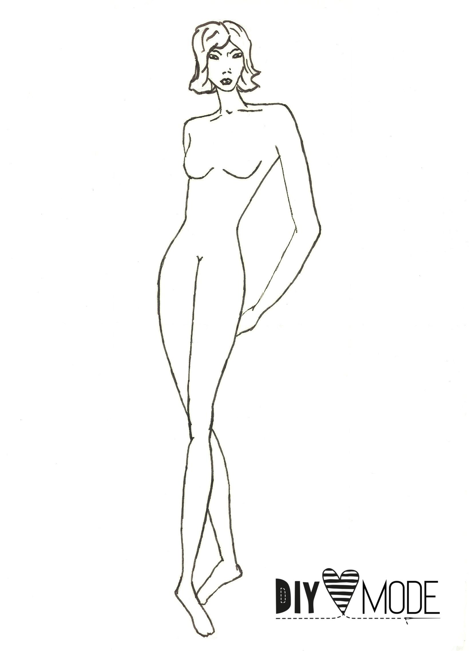 DIY Modezeichnen kostenlose Vorlage Frau Model download runterladen
