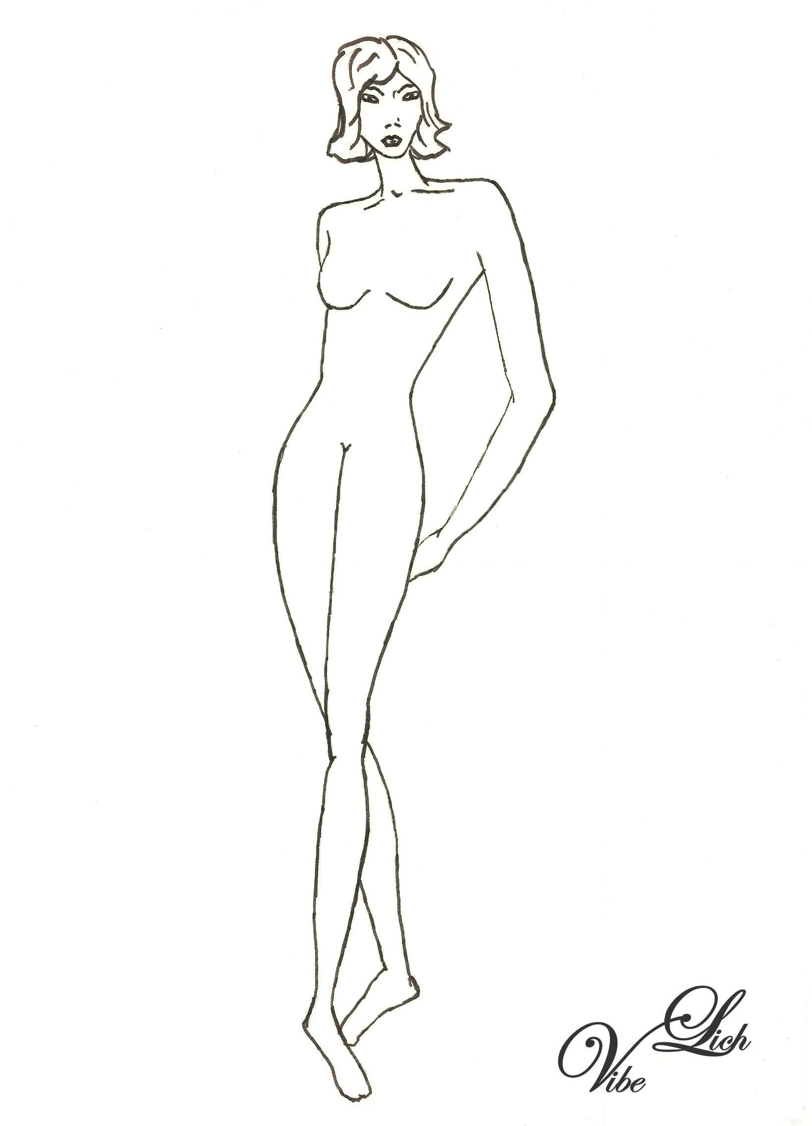 DIY Modezeichnen Vorlage Frau Model
