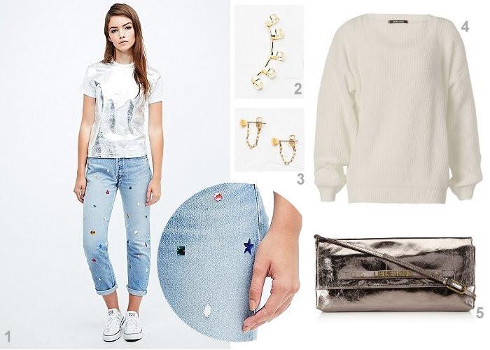 Outfit Inspiration Metallic weiß gold und glitzer