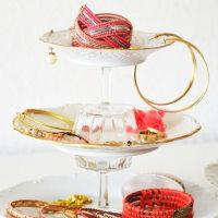 Upcycling DIY Etagere aus Tellern und Gläsern