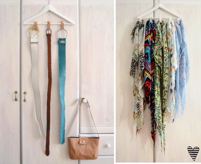 DIY Schrank Organizer Bügel für Gürtel und Tücher selber machen snappap 8