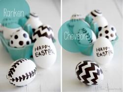 Schwarz weiß bemalte Oster-Eier