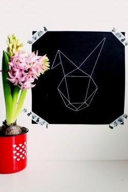 Geometrisches Hasenbild mit Vorlage