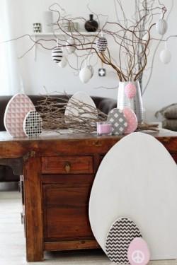 Große Deko-Eier aus Holz