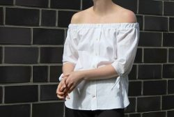 Upcycling Off Shoulder Top / Foto-, Textanleitung