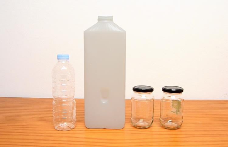 upcycling idee mit stoff nähen plastikflaschen gläser aufpimpen 4