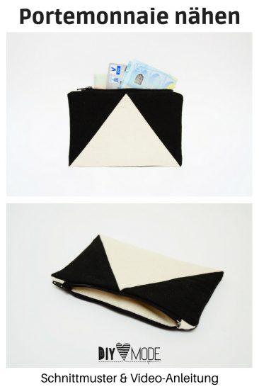 Einfaches Portemonnaie mit Schnittmuster nähen DIY MODE Video Anleitung minimalistisch Geschenk für Männer unisex