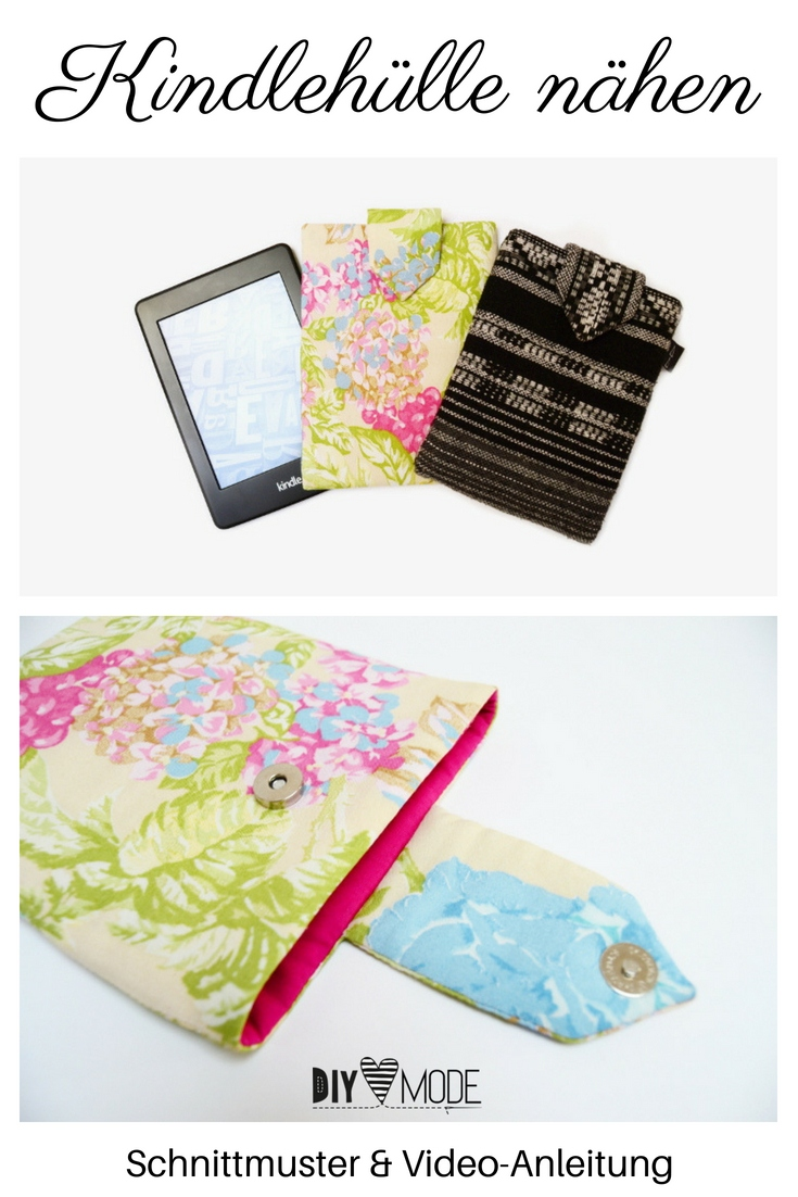 Kindlehülle mit Schnittmuster nähen Hülle Kindle Cover Tasche Paperwhite DIY MODE Nähanleitung Video Geschenkidee
