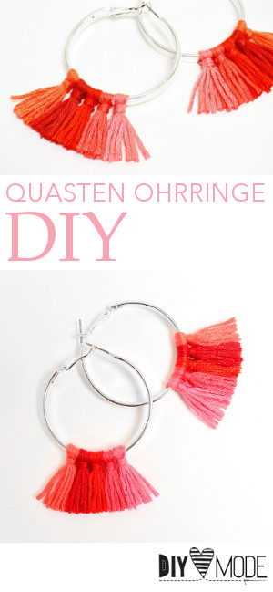 quasten ohrringe troddel creolen selbst selber machen basteln pimpen upcycling refashion schmuck idee ideen tassel hoop earrings video diy mode 1A
