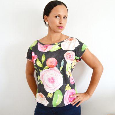 Kimono Tee nähen deutsche Anleitung Schnittmuster Damen Oberteil T-Shirt kostenlos 3