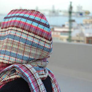 Kapuzenschal nähen Schnittmuster Schal mit Kapuze
