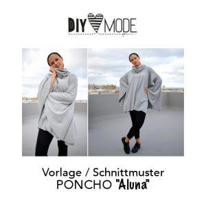 Poncho mit Kragen nähen kostenloses Schnittmuster gratis Vorlage Download DIY MODE Cape Aluna
