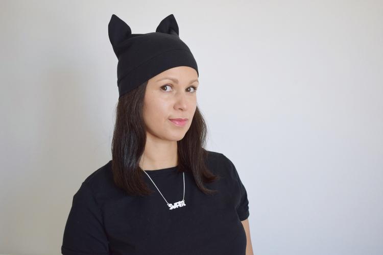 Katzenmütze nähen Schnittmuster Mütze mit Katzenohren Kawaii Pussyhat Jerseymütze für Frauen
