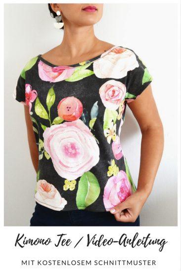 Kimono-Tee T-Shirt Oberteil Einfache Nähideen Nähen für Anfänger Nähanfänger Ideen schnell leicht Schnittmuster Video Anfängerprojekte DIY MODE Kleidung Kleinigkeiten