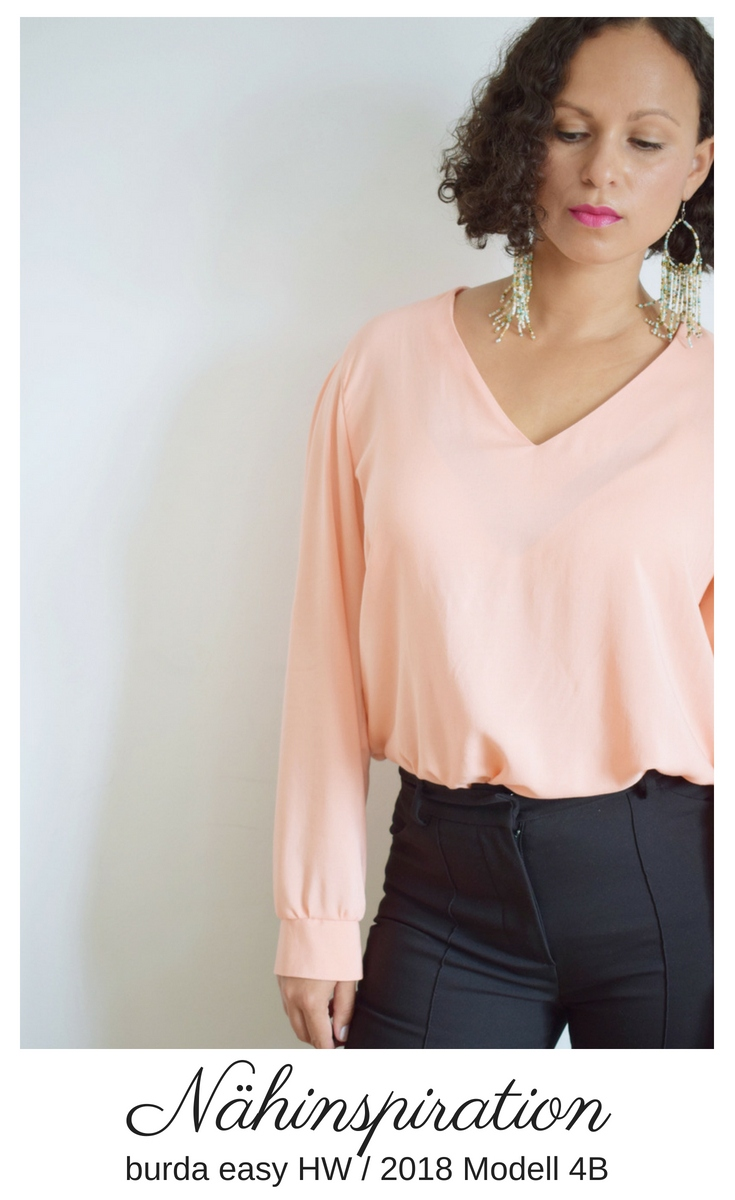 DIY MODE burda easy hw 2018 Bluse Kleid Blusenkleid Blusenshirt Modell 4B 4B 4 Video-Anleitung Schnittmuster
