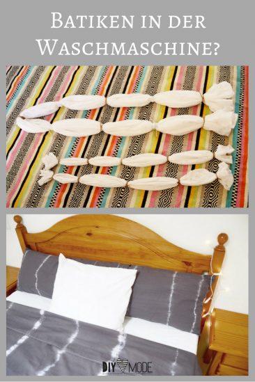 Batiken in der Waschmaschine Färben Dylon Test Bettwäsche