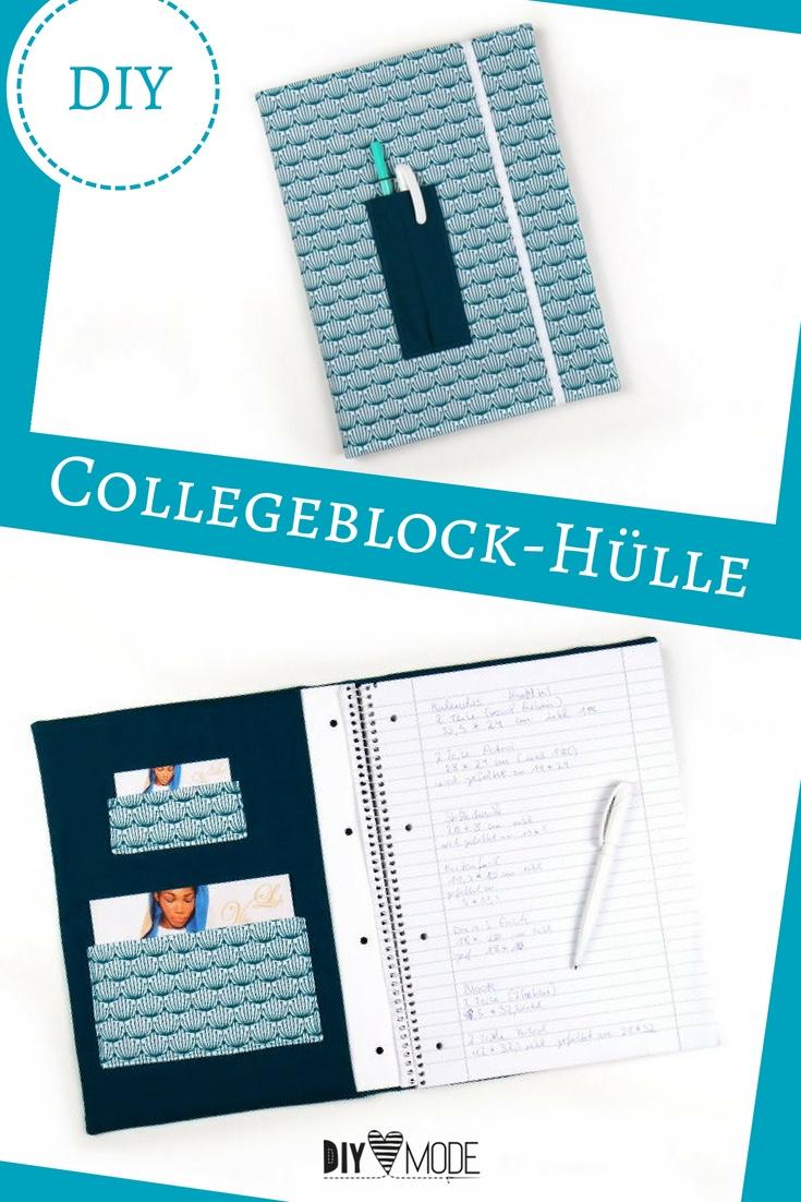 Collegeblock Hülle Blockhülle Hefthülle Schule Uni freebie kostenlose Anleitung Idee nähen Nähanleitung Nähidee für Anfänger Nähanfänger Kleinigkeit Geschenk DIY MODE