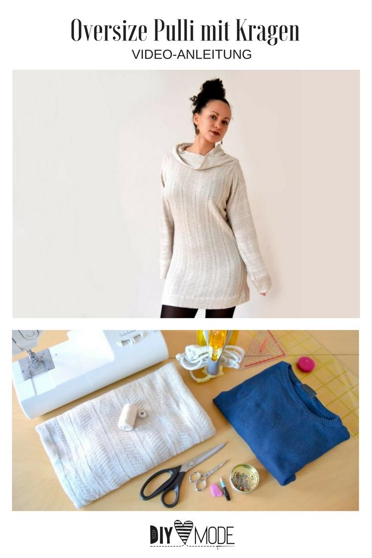 DIY Overzise Pullover mit Kragen nähen Kleid Winter Nähidee Kleidung Damen gratis Freebook Freebie kostenlos