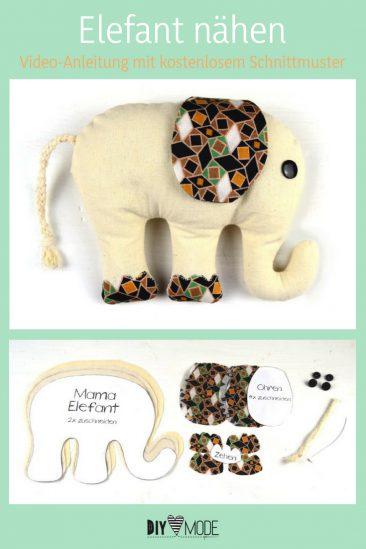 Elefant Kuscheltier für Kinder mit kostenlosem Schnittmuster freebie kostenlose Anleitung Idee nähen Nähanleitung Nähidee für Anfänger Nähanfänger Kleinigkeit Geschenk DIY MODE