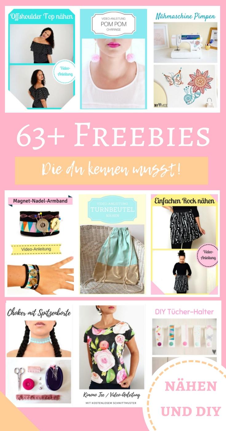 Freebie Sammlung nähen kostenlos gratis Nähideen für Erwachsene Nähvideos DIY MODE