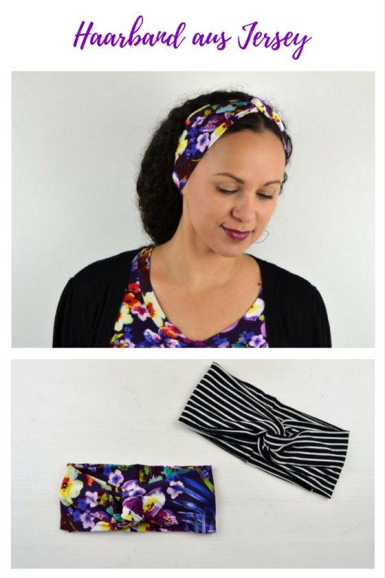 Haarband Turbanhaarband Stirnband aus Jersey selber machen freebie kostenlose Anleitung Idee nähen Nähanleitung Nähidee für Anfänger Nähanfänger Kleinigkeit Geschenk DIY MODE