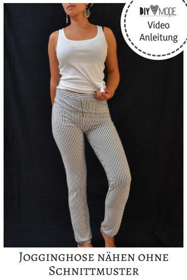 Jogginghose ohne Schnittmuster nähen Anleitung gratis kostenlos Freebook Freebie Hose Damen Jersey gemütlich Nähidee Kleidung