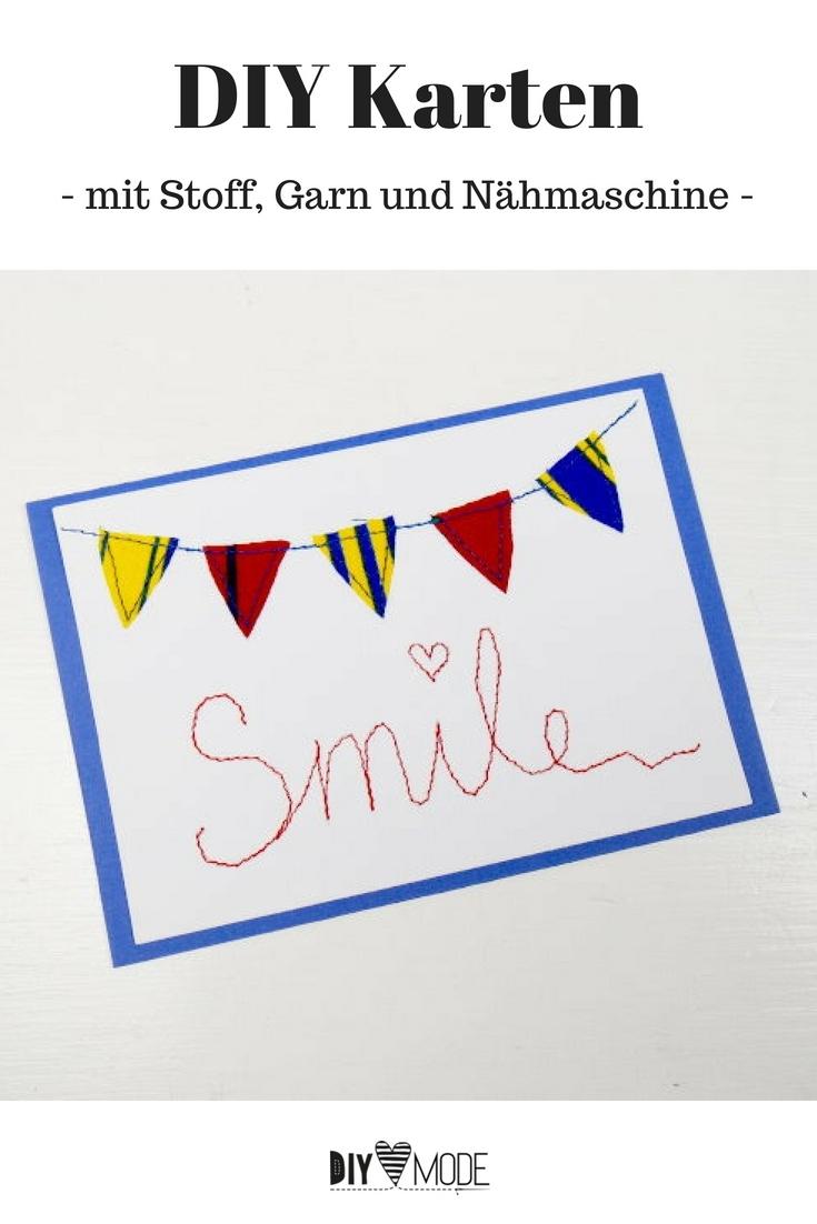 Karte Geburtstagskarte mit Spruch nähen basteln selber machen Idee Bastelidee Nähidee