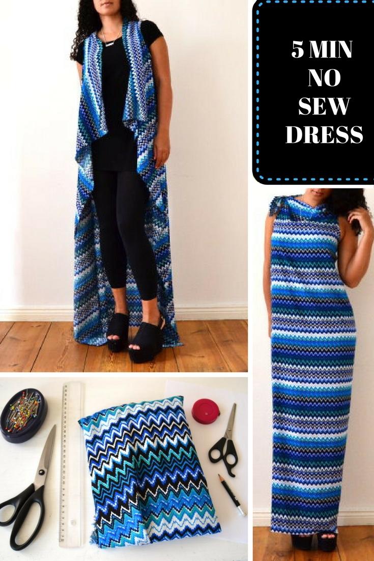 Kleid Maxikleid Weste ohne Nähen selber machen einfach schnell leichtes