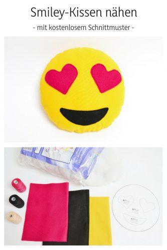 Smiley Kissen Herzaugen kostenlose Vorlage Schnittmuster freebie kostenlose Anleitung Idee nähen Nähanleitung Nähidee für Anfänger Nähanfänger Kleinigkeit Geschenk DIY MODE