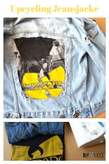 Upcycling Jeansjacke T-Shirt freebie kostenlose Anleitung Idee nähen Nähanleitung Nähidee für Anfänger Nähanfänger Kleinigkeit Geschenk DIY MODE
