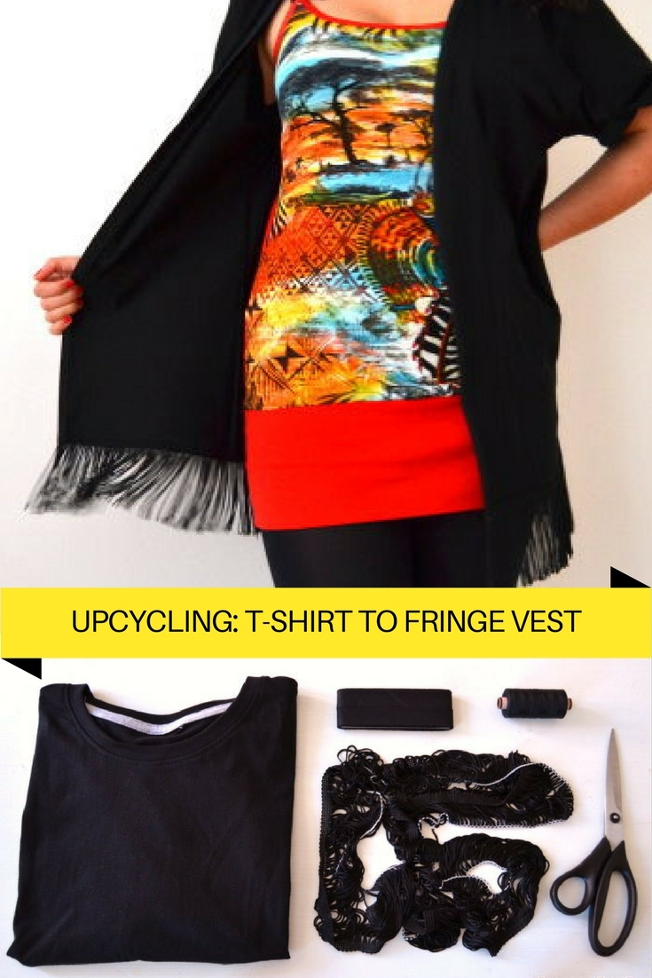 Upcycling T-Shirt Weste Fransen freebie kostenlose Anleitung Idee nähen Nähanleitung Nähidee für Anfänger Nähanfänger Pimpen DIY MODE