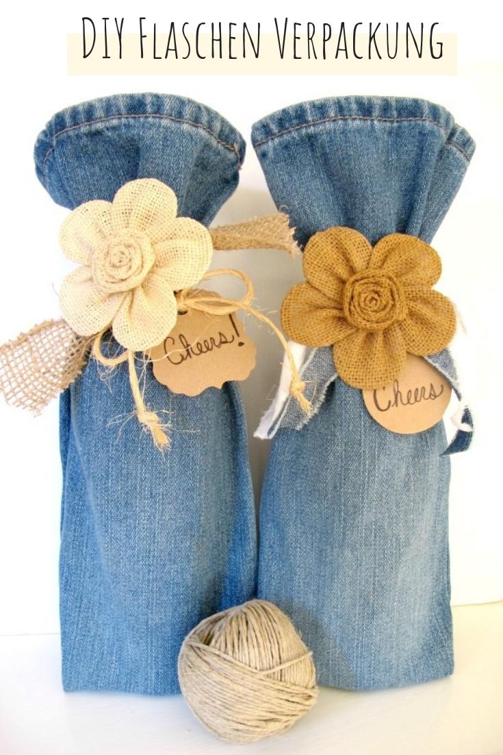 Flaschentasche aus Jeans Hosenbein upcycling idee ideen nähen nähideen nachhaltig diy jeanshose alt mach neu pimpen refashion was kann man aus alten jeans machen