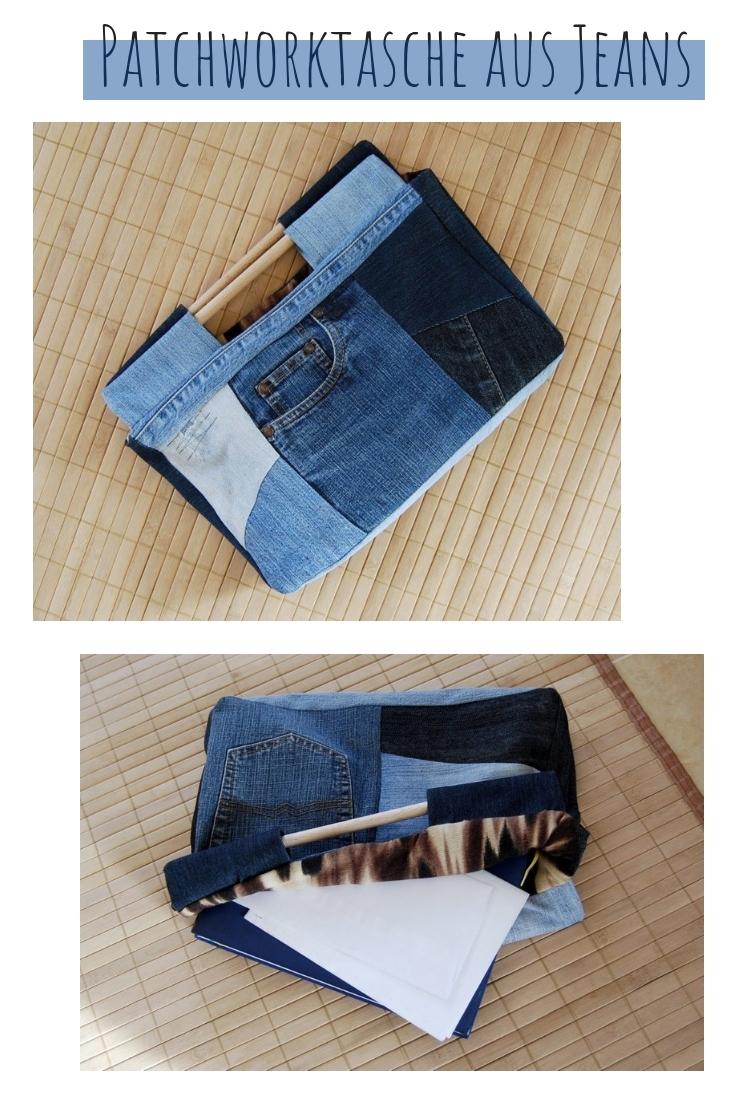Jeans Patchwork Tasche upcycling idee ideen nähen nähideen nachhaltig diy jeanshose alt mach neu pimpen refashion was kann man aus alten jeans machen