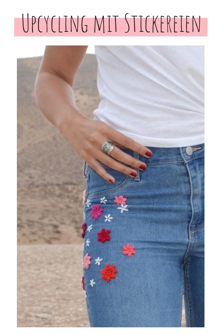 Jeans besticken Blumen upcycling idee ideen nähen nähideen nachhaltig diy jeanshose alt mach neu pimpen refashion was kann man aus alten jeans machen