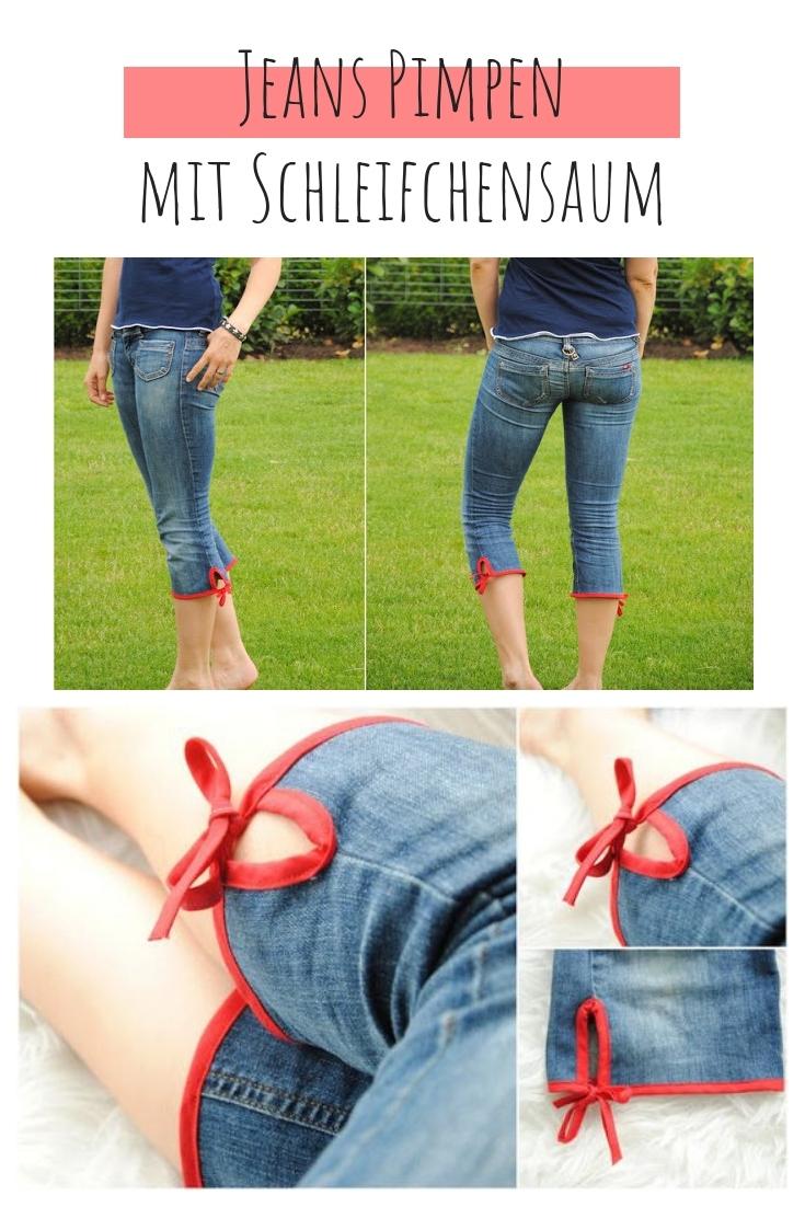 Jeans kürzen zu kurz Saum mit Schleife Schrägband upcycling idee ideen nähen nähideen nachhaltig diy jeanshose alt mach neu pimpen refashion was kann man aus alten jeans machen