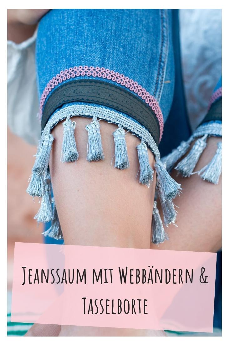 Jeans mit Bändern und Borten verzieren Saum upcycling idee ideen nähen nähideen nachhaltig diy jeanshose alt mach neu pimpen refashion was kann man aus alten jeans machen
