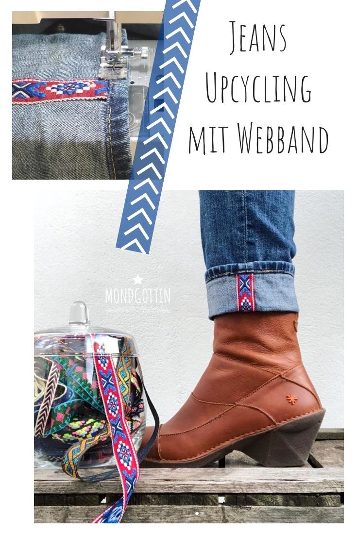Jeans mit Webband verzieren Saum upcycling idee ideen nähen nähideen nachhaltig diy jeanshose alt mach neu pimpen refashion was kann man aus alten jeans machen