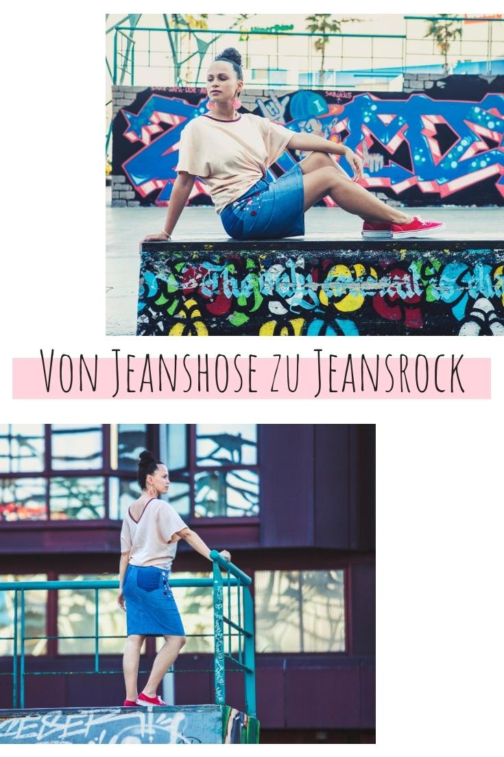 Jeans zu Rock Jeasrock aus Hose upcycling idee ideen nähen nähideen nachhaltig diy jeanshose alt mach neu pimpen refashion was kann man aus alten jeans machen