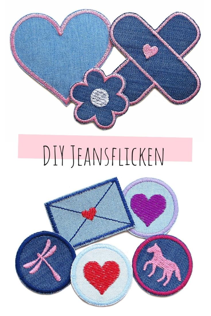 Jeansflicken aus Jeansstoff Stoffresten Kinder upcycling idee ideen nähen nähideen nachhaltig diy jeanshose alt mach neu pimpen refashion was kann man aus alten jeans machen