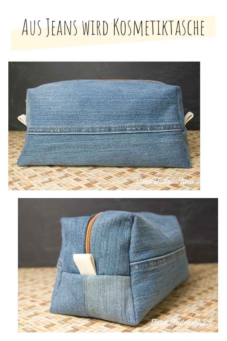 Kosmetiktasche Tasche aus Jeans upcycling idee ideen nähen nähideen nachhaltig diy jeanshose alt mach neu pimpen refashion was kann man aus alten jeans machen