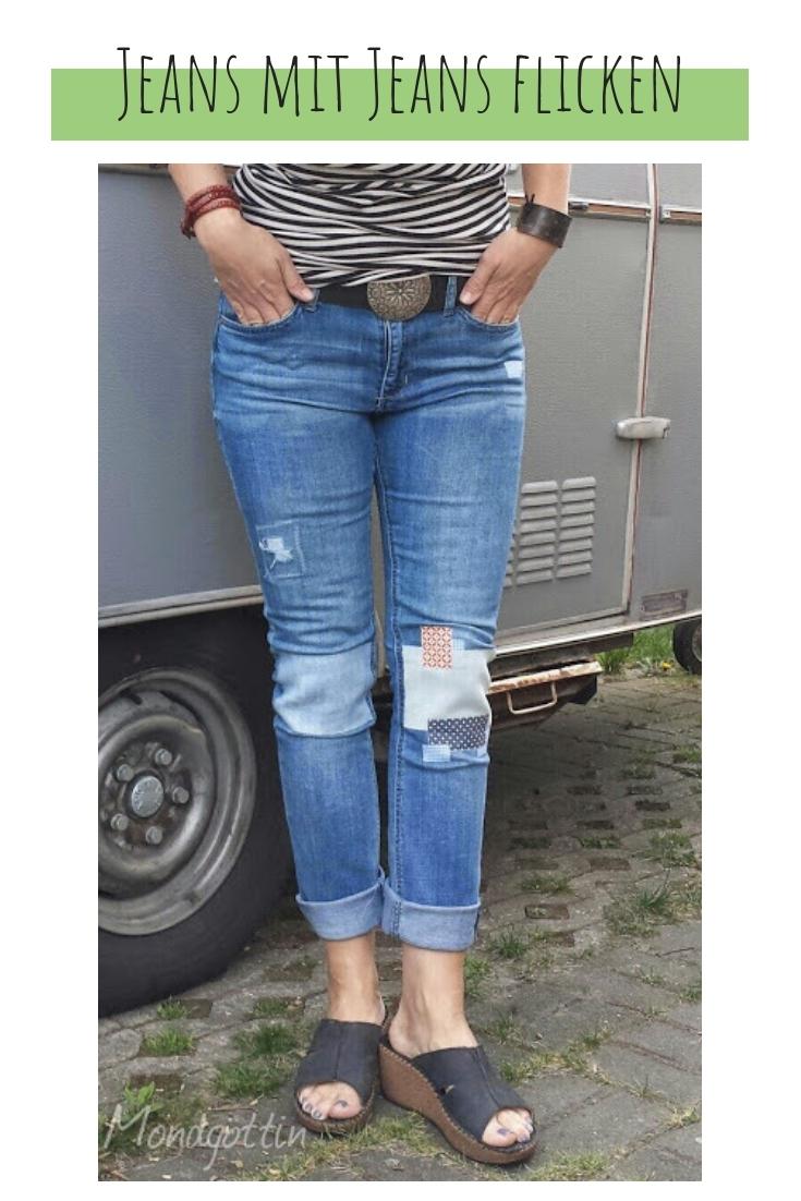 Löcher in Jeans flicken modern patches upcycling idee ideen nähen nähideen nachhaltig diy jeanshose alt mach neu pimpen refashion was kann man aus alten jeans machen