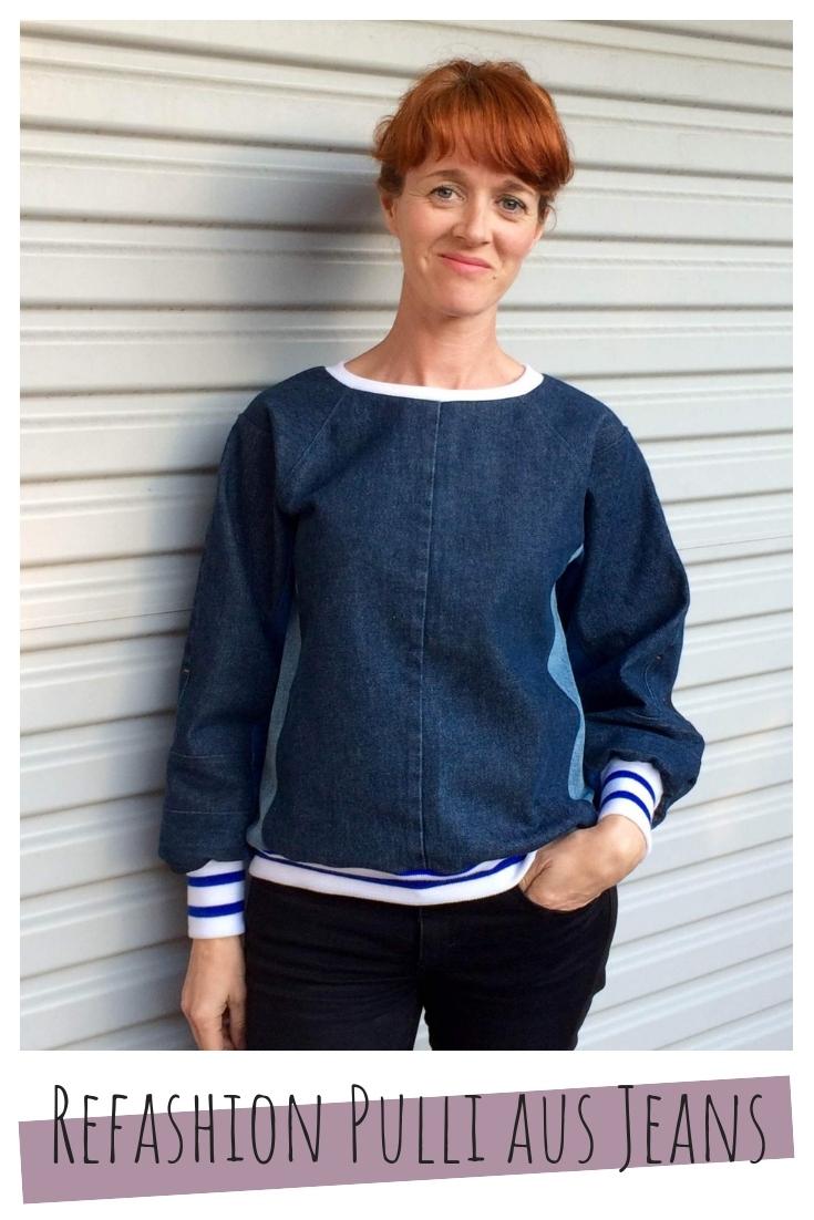 Pulli Pullover aus Jeans upcycling idee ideen nähen nähideen nachhaltig diy jeanshose alt mach neu pimpen refashion was kann man aus alten jeans machen