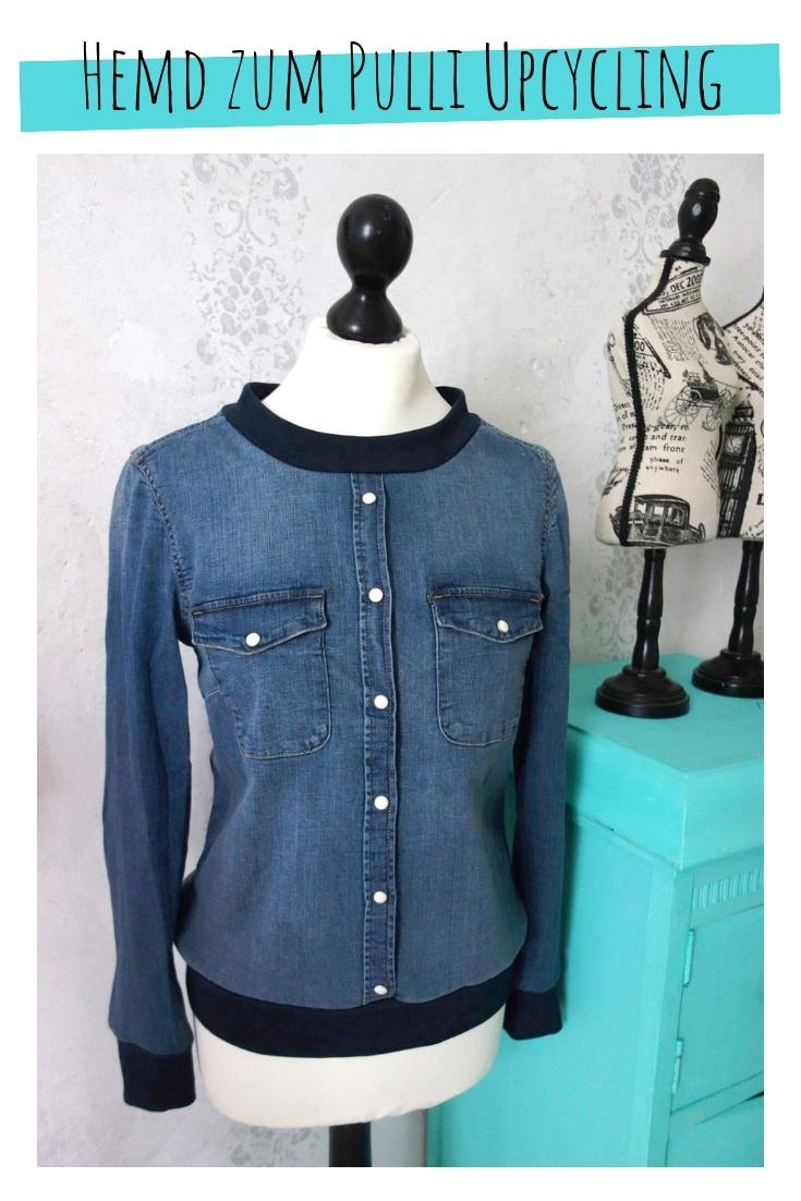 Pulli aus Jeanshemd vom Hemd zum Pullover upcycling idee ideen nähen nähideen nachhaltig diy jeanshose alt mach neu pimpen refashion was kann man aus alten jeans machen