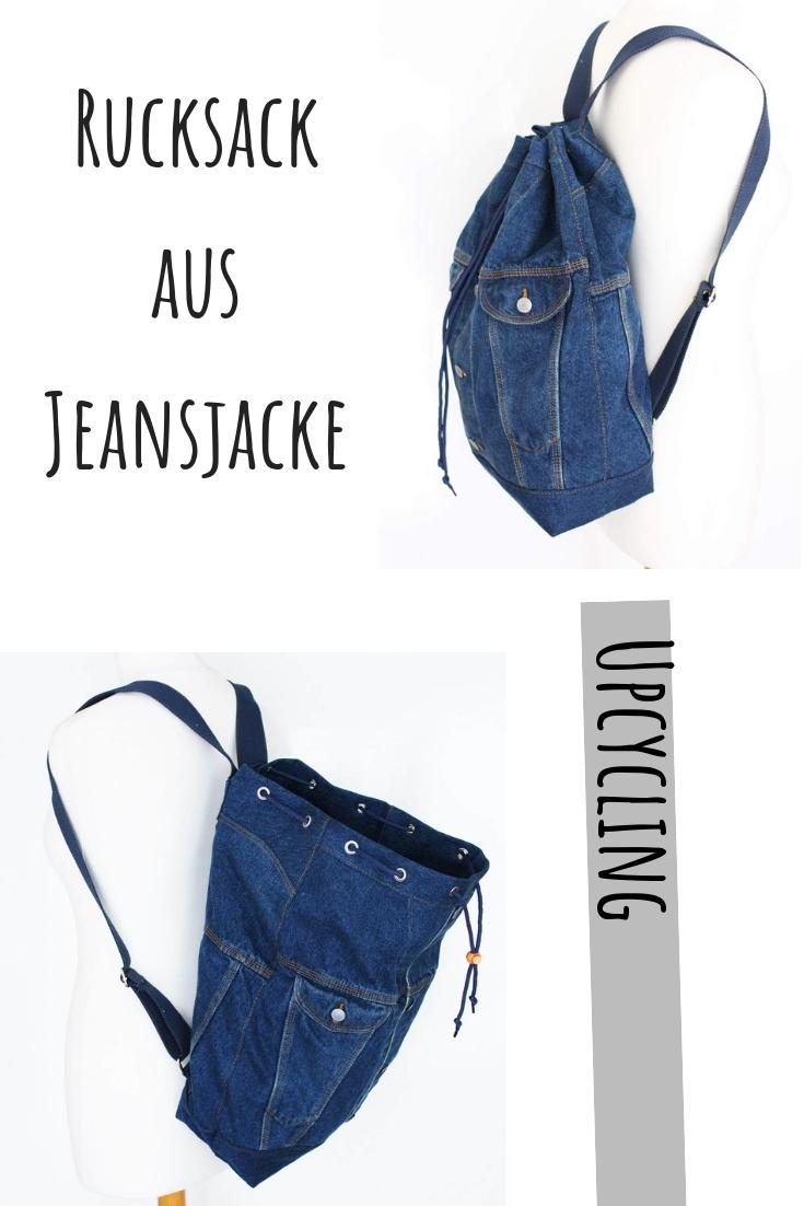 Rucksack aus Jeans Jeansjacke upcycling idee ideen nähen nähideen nachhaltig diy jeanshose alt mach neu pimpen refashion was kann man aus alten jeans machen