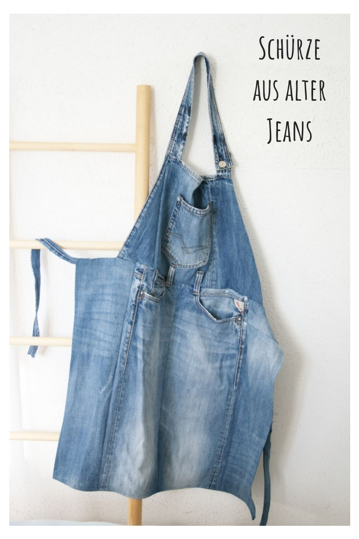 Schürze aus Jeans upcycling idee ideen nähen nähideen nachhaltig diy jeanshose alt mach neu pimpen refashion was kann man aus alten jeans machen
